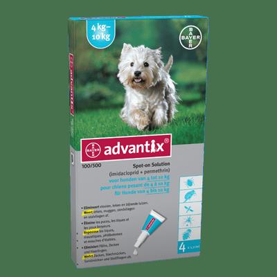 Advantix 100 (4 pipet) voor honden tussen de 4 - 10 kilo