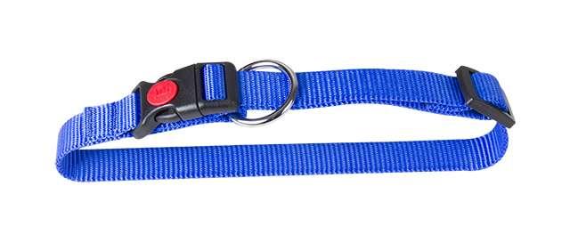 Nylon halsband met safety buckle blauw 15mm x 30-45cm
