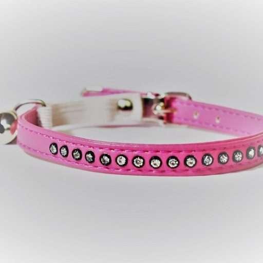 Kattenhalsbandje leer met strass roze