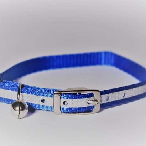 Kattenhalsbandje met reflecterende strip blauw