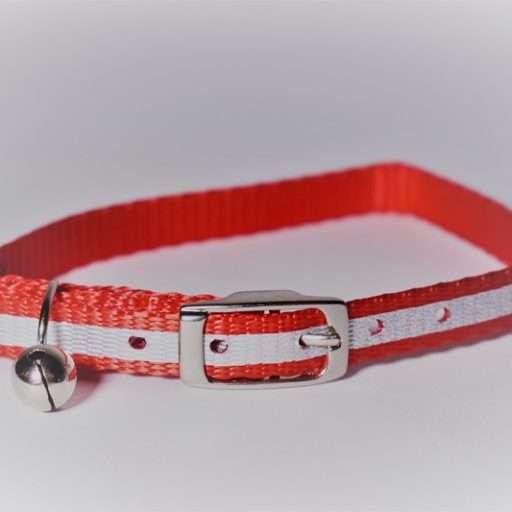 Kattenhalsbandje met reflecterende strip rood