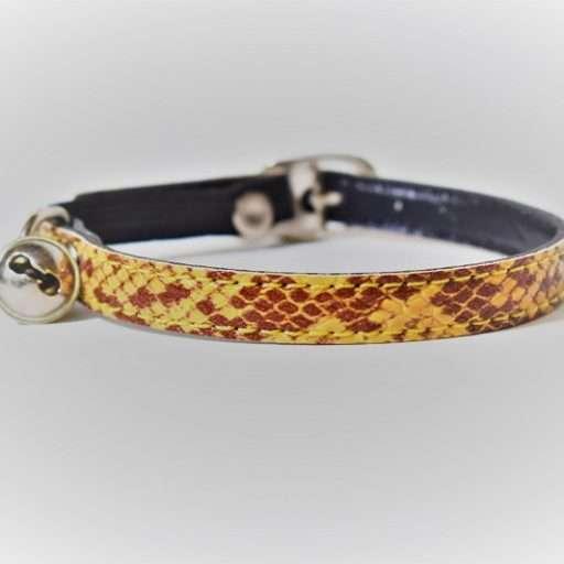 Kattenhalsbandje slangenleerprint bruin
